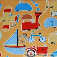 Airplane Car Little Boy Travel Adventure Noddy Blue Cotton Fabric By The Yard