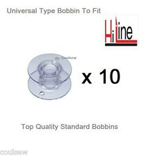 UNIVERSAL PLASTIC BOBBINS X 10 IN PACKET COMPATIBLE WITH HiLINE SEWING MACHINES