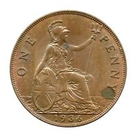 KM# 838 - One Penny - Freeman 214 (5+C) - George V - Great Britain 1936 (AU)