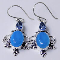 Chalcedony Tanzanite 925 Sterling Silver Plated Handmade Jewelry Earring 8 Gm