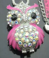 Betsey Johnson Necklace Pink Owl Crystals And Silver GIFT BOX ORGANZA BAG