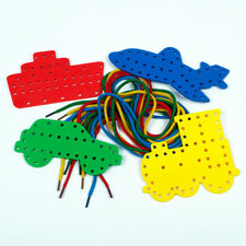 4 Transport Lacing Shapes & Colour Laces Threading Early Years Educational Toys