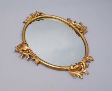Antique c1900 Gilded Steel & Brass Decorative Leaf Hanging Wall Mirror