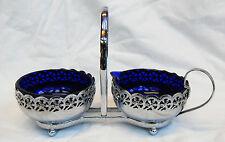 Vintage Retro Cream Jug & Sugar Bowl on Chrome Stand - Blue Glass Liners 1950s