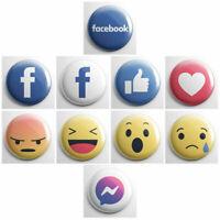 "FACEBOOK – 1"" fridge magnets OR pinback buttons – social media emoji icon logos"