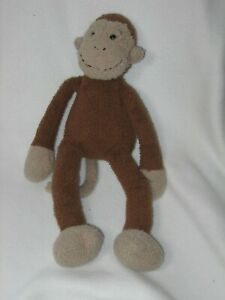 "Jellycat Plush Slackajack Monkey 14"" Brown Stuffed Animal Toy Baby Lovey Worn"