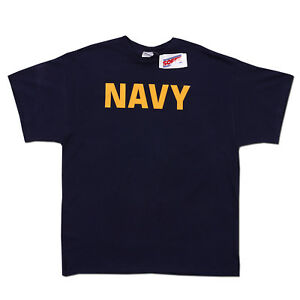 Soffe BLUE US Navy Military PT Army Marines Short Sleeve T-shirt Tee New Large