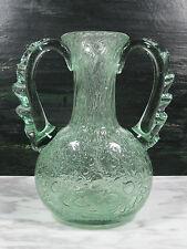 MCM BAROVIER TOSO MURANO ITALY AQUA EFESO BUBBLES ART GLASS RUFFLE HANDLE VASE