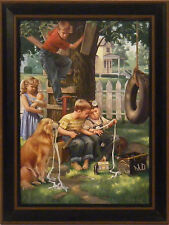 HOUSE CALL by Charles Freitag 12x16  FRAMED PRINT Children Doctor Nostalgic