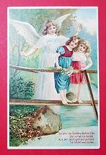 Prägedruck Litho AK 1909 Engel Schutzengel mit Kindern   ( 28684