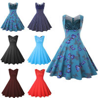 Women Retro A Line Sleeveless Prom Party Cocktail V-Neck Rockabilly Swing Dress
