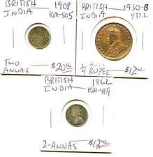 1862 - 1908 - 1930-b - British India - 3 Coin lot - Diff. Annas - Nice !!!