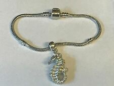 Seahorse Tg235 on a silver Rhodium Plated Snake Bracelet