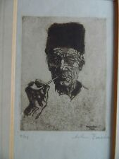 LE Signed Etching Portrait Dutchman Volendam 1912 Anton Forster Munich Secession