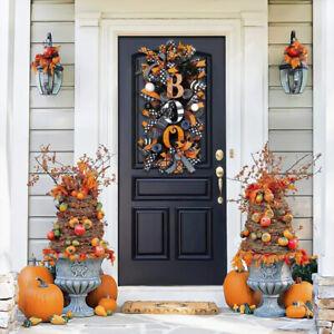 Halloween Wreath Decoration Decor Pumpkin Spider BOO Front Door Hanging Party