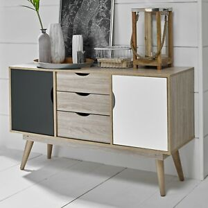 Scandinavian Large Sideboard Nordic Retro Cupboard Unit Scandi Buffet Grey White