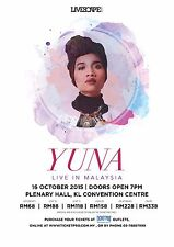 "YUNA ""LIVE IN MALAYSIA"" 2015 KUALA LUMPUR CONCERT TOUR POSTER-Indie Pop,R&B,Soul"