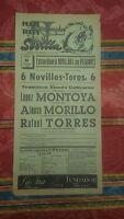 19568 Cartel Plaza de Toros Sevilla Novillada con Picadores Montoya Morillo....