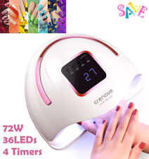 72W Led Uv Nail Polish Dryer Lamp Gel Acrylic Curing Light w/ Timer Spa Tool Hot