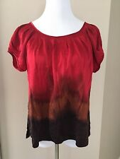 Chaus Womens Tunic Blouse Top 100 % Silk Red Brown  Short Sleeved Sz M