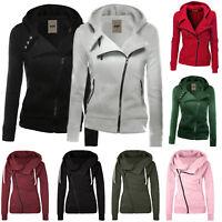 Womens Winter Plain Zipper Hoodie Ladies Swetshirt Jumper Jacket Tops Plus Size