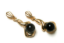 9ct Gold Fancy Black Onyx dangly drop earrings Made in UK Gift Boxed