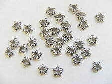 100 Tiny  Metal Antique Silver Tone  Bead Caps -  approx 5mm