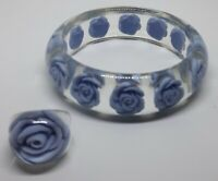 Beautiful Reverse Carved Lucite Bangle And Ring Blue Rose