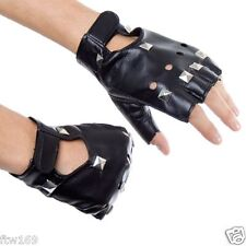 BLACK GLOVES FINGERLESS PUNK ROCKER STYLE STUD COSTUME BIKER RETRO GOTHIC COOL