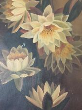 "Antique Lily Flower Canvas Oil Painting 12"" X 24"" Floral Victorian Old"