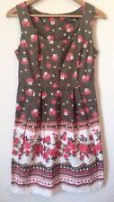 Dorothy Perkins Size 12 Pleated Dress Dark Green/Ivory/Pink Floral Detail <BC766