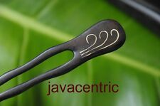 Handmade wooden HAIR PIN FORK PICK new metal inlay wavy prongs carved Sono wood