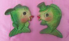 2 Vtg Miller Fish Chalkware Wall Plaques G/W Vintage Mermaids