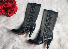 WOMENS FRYE AVA EMBROIDERED BLACK LEATHER HIGH HEEL BOOTS SZ 6 M 77873