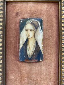 Antique Original Painting Beautiful Persian Woman Framed Bone Victorian Oil Art