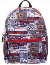 """Five Nights at Freddy's Backpack All Over Pattern Pizza Print 16"""" School Bag"""