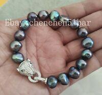 11-12mm Schwarz Barock Süßwasser Perlen Armband Tiger Kopf Verschluss 8 Zoll