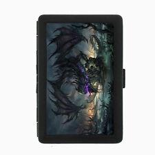 Dragon D14 Black Cigarette Case / Metal Wallet Mythology Beast Fire
