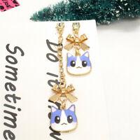 Hot Blue Enamel Cute Cat Head Bow Asymmetry Betsey Johnson Women Stand Earrings