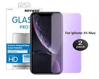 2 Films Protection écran Verre trempé Filtre Anti lumière bleue pr iPhone XS MAX