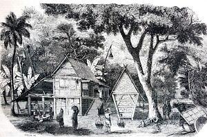 Indonesia Island of JAVA 1856 JAVANESE STRAW HOUSES Matted Engraving Art Print