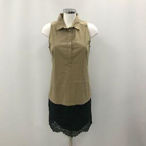 Comptoir Des Cotonniers Beige Black Ladies Stylish Cotton Size 38 Dress 252490