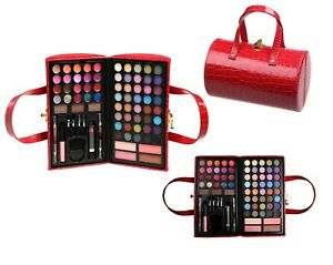CAMEO RED LEATHER PURSE PROFESSIONAL ELEGANT MAKEUP KIT ALL IN ONE SET