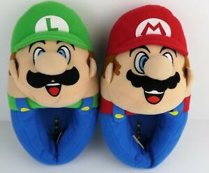 Super Mario Bros Mario Luigi Plush 3D Boys Size 11-12 Slip On Slippers