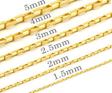 OneDayShip 18K Gold Plated Mens Womens Stainless Steel Long Box Chains Necklaces