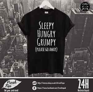 Sleepy Hungry Grumpy Please Go Away T Shirt Morning Person Coffee Birthday Gift