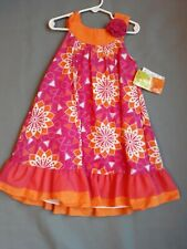 Penelope Mack Girls Dress Orange White Polka Dots Buttons Floral Sleeveless New