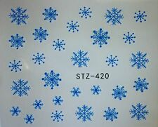 Nail Art Water Decals Stickers Christmas Snow Ice Blue Snowflakes (420B)