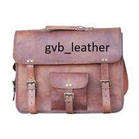 American Men's Vintage Leather Messenger Briefcase Satchel Shoulder Laptop Bag