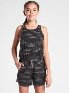 ATHLETA GIRL On the Go Romper SZ 16 (XXL) Black Camo   Active Shorts 1-piece NWT